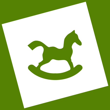 Horse toy sign. Vector. White icon obtained as a result of subtraction rotated square and path. Avocado background. Illustration