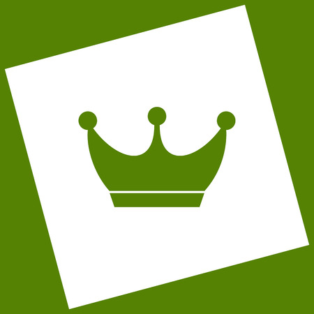 King crown sign. Vector. White icon obtained as a result of subtraction rotated square and path. Avocado background. Illustration