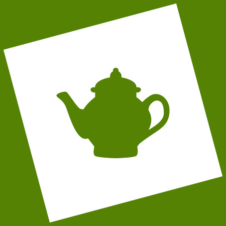Tea maker sign. Vector. White icon obtained as a result of subtraction rotated square and path. Avocado background.