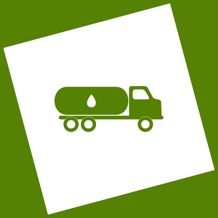Car transports Oil sign. Vector. White icon obtained as a result of subtraction rotated square and path. Avocado background.