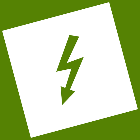 volte: High voltage danger sign. Vector. White icon obtained as a result of subtraction rotated square and path. Avocado background. Illustration