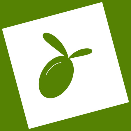 Olive sign illustration. Vector. White icon obtained as a result of subtraction rotated square and path. Avocado background. Illustration
