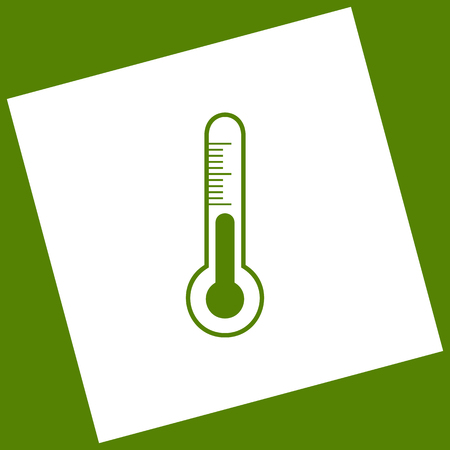 balanza de laboratorio: Meteo diagnostic technology thermometer sign. Vector. White icon obtained as a result of subtraction rotated square and path. Avocado background. Vectores