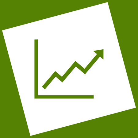 escalate: Growing bars graphic sign. Vector. White icon obtained as a result of subtraction rotated square and path. Avocado background.