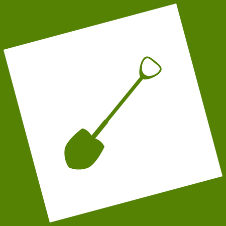 Shovel to work in the garden. Vector. White icon obtained as a result of subtraction rotated square and path. Avocado background.