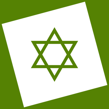 Shield Magen David Star. Symbol of Israel. Vector. White icon obtained as a result of subtraction rotated square and path. Avocado background.