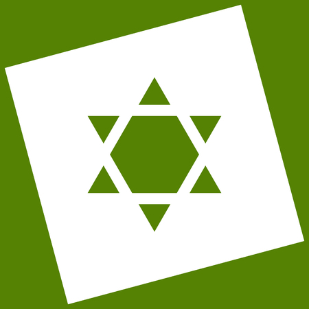 Shield Magen David Star Inverse. Symbol of Israel inverted. Vector. White icon obtained as a result of subtraction rotated square and path. Avocado background. Illustration