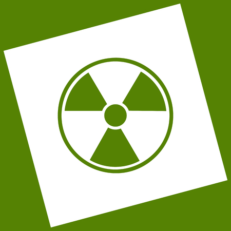 Radiation Round sign. Vector. White icon obtained as a result of subtraction rotated square and path. Avocado background.