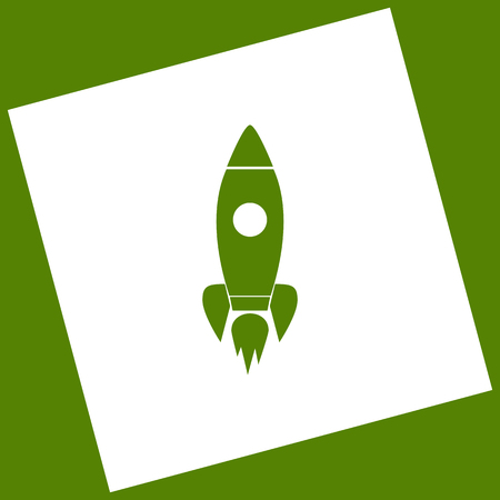 Rocket sign illustration. Vector. White icon obtained as a result of subtraction rotated square and path. Avocado background.