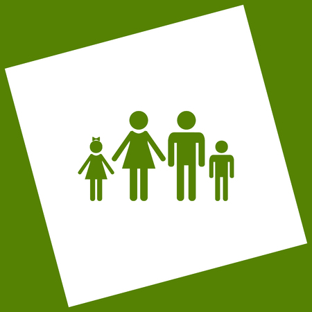 Family sign illustration. Vector. White icon obtained as a result of subtraction rotated square and path. Avocado background.