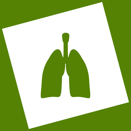 Human anatomy. Lungs sign. Vector. White icon obtained as a result of subtraction rotated square and path. Avocado background. Illustration