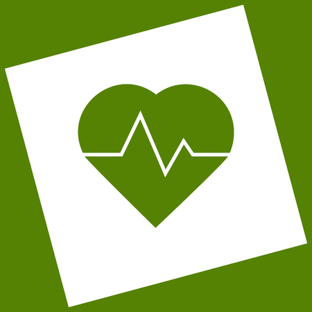 emergency cart: Heartbeat sign illustration. Vector. White icon obtained as a result of subtraction rotated square and path. Avocado background. Illustration