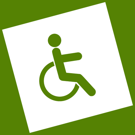 invalid: Disabled sign illustration. Vector. White icon obtained as a result of subtraction rotated square and path. Avocado background. Illustration