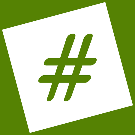 Hashtag sign illustration. Vector. White icon obtained as a result of subtraction rotated square and path. Avocado background.