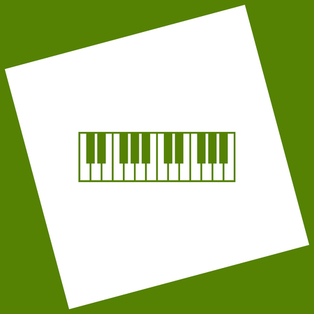 Piano Keyboard sign. Vector. White icon obtained as a result of subtraction rotated square and path. Avocado background.