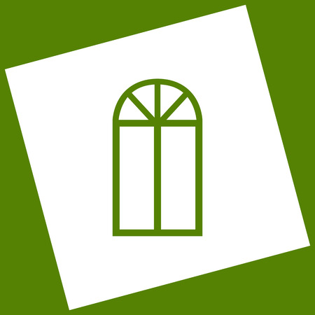 Window simple sign. Vector. White icon obtained as a result of subtraction rotated square and path. Avocado background.