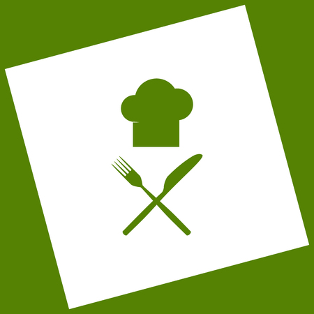 Chef with knife and fork sign. Vector. White icon obtained as a result of subtraction rotated square and path. Avocado background.