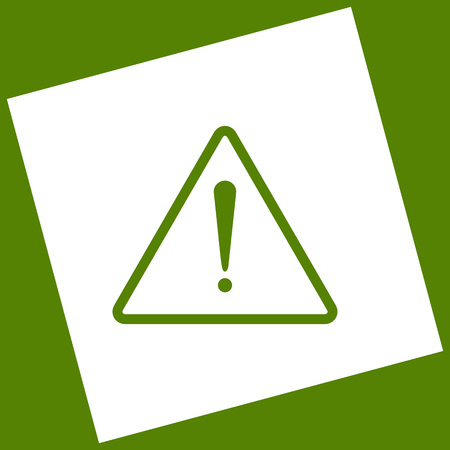 Exclamation danger sign. Flat style. Vector. White icon obtained as a result of subtraction rotated square and path. Avocado background.