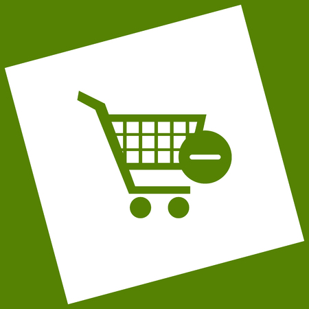 Vector Shopping Cart with Remove sign. Vector. White icon obtained as a result of subtraction rotated square and path. Avocado background.