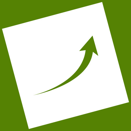 Growing arrow sign. Vector. White icon obtained as a result of subtraction rotated square and path. Avocado background.