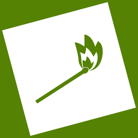 igniting: Match sign illustration. Vector. White icon obtained as a result of subtraction rotated square and path. Avocado background.