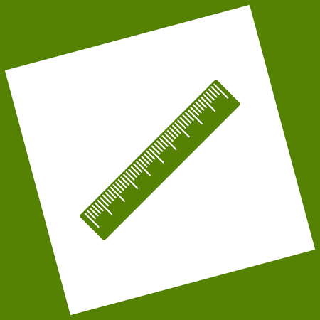 Centimeter ruler sign. Vector. White icon obtained as a result of subtraction rotated square and path. Illustration