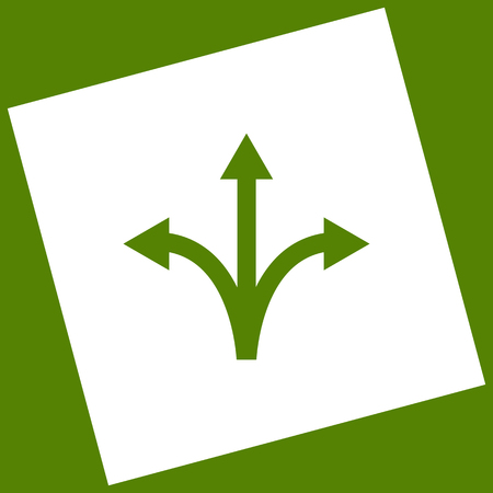 Three-way direction arrow sign. Vector. White icon obtained as a result of subtraction rotated square and path. Illustration