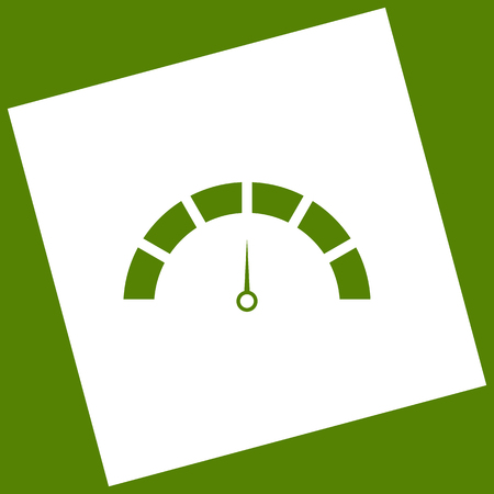 Speedometer sign illustration. Vector. White icon obtained as a result of subtraction rotated square and path.