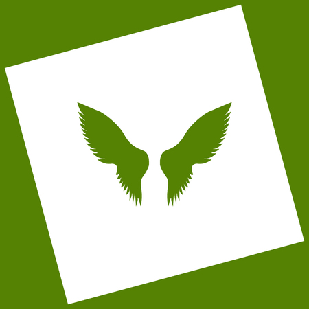 Wings sign illustration. Vector. White icon obtained as a result of subtraction rotated square and path. Illustration