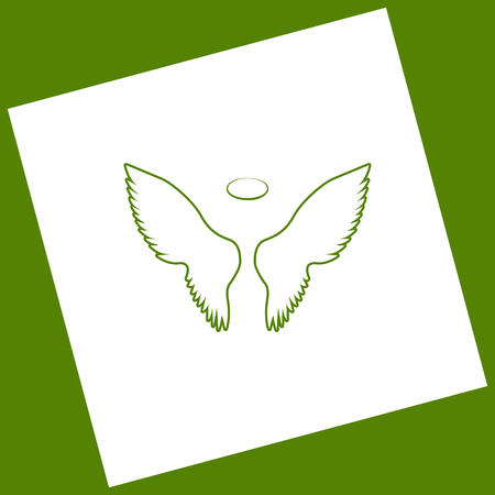 fairy: Wings sign illustration. Vector. White icon obtained as a result of subtraction rotated square and path. Illustration