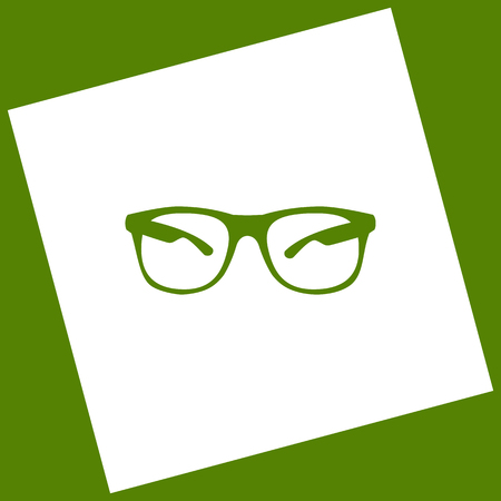 eyewear: Sunglasses sign illustration. Vector. White icon obtained as a result of subtraction rotated square and path. Illustration