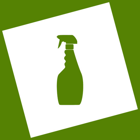 Plastic bottle for cleaning. Vector. White icon obtained as a result of subtraction rotated square and path.