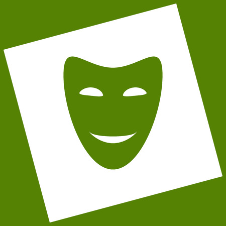comedy show: Comedy theatrical masks. Vector. White icon obtained as a result of subtraction rotated square and path. Illustration