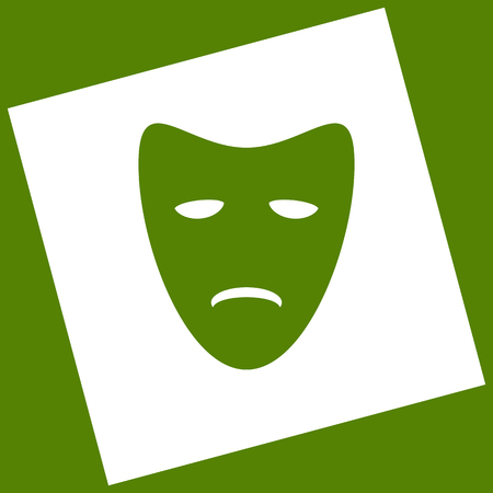 Tragedy theatrical masks. Vector. White icon obtained as a result of subtraction rotated square and path.