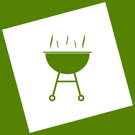 Barbecue simple sign. Vector. White icon obtained as a result of subtraction rotated square and path. Illustration