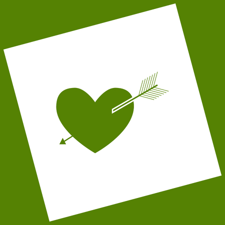 cor: Arrow heart sign. Vector. White icon obtained as a result of subtraction rotated square and path.