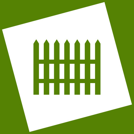 Fence simple sign. Vector. White icon obtained as a result of subtraction rotated square and path.