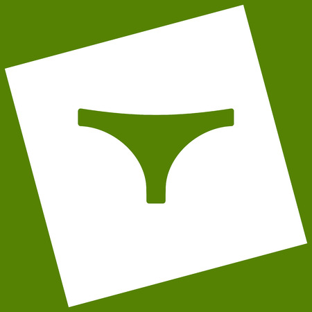 nightwear: Womens panties sign. Vector. White icon obtained as a result of subtraction rotated square and path.