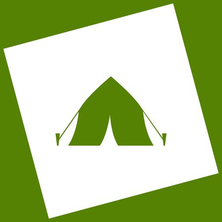 Tourist tent sign. Vector. White icon obtained as a result of subtraction rotated square and path. Illustration