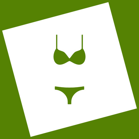 Women swimsuit sign. Vector. White icon obtained as a result of subtraction rotated square and path.