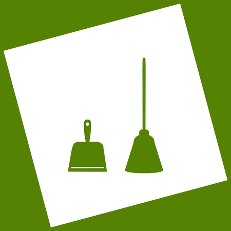 whisk broom: Dustpan vector sign. Scoop for cleaning garbage housework dustpan equipment. Vector.