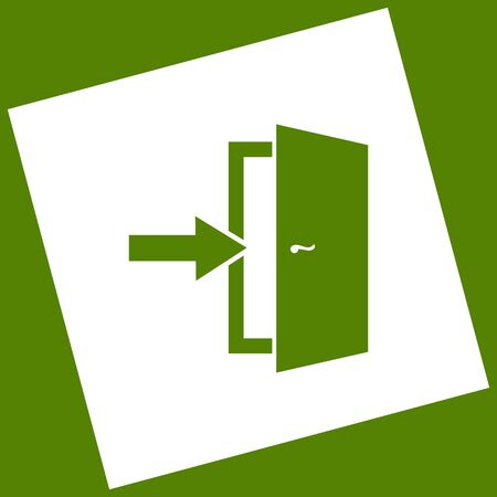 Door Exit sign. Vector. White icon obtained as a result of subtraction rotated square and path. Illustration