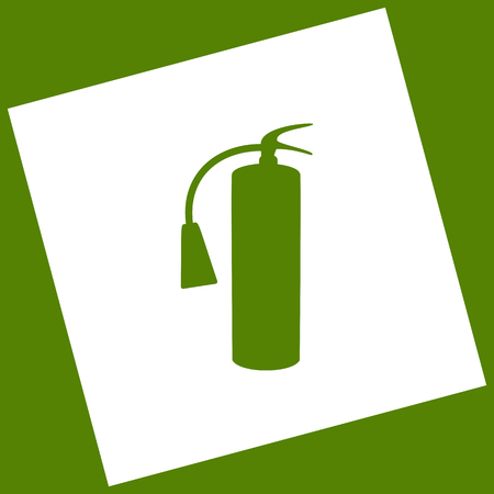 Fire extinguisher sign. Vector. White icon obtained as a result of subtraction rotated square and path. Avocado background.