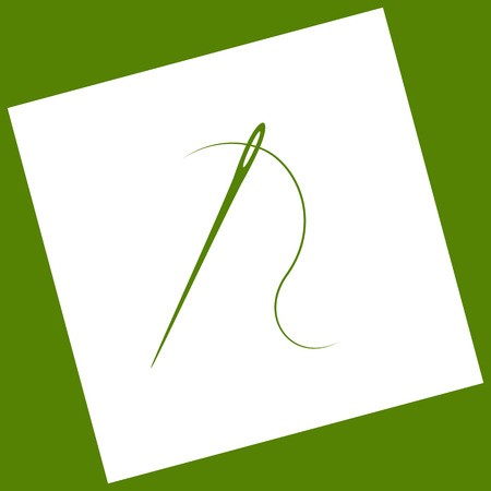 Needle with thread. Sewing needle, needle for sewing. Vector. White icon obtained as a result of subtraction rotated square and path. Avocado background.