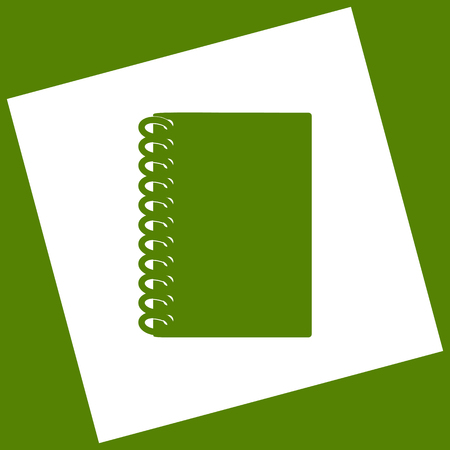 open notebook: Notebook simple sign. Vector. White icon obtained as a result of subtraction rotated square and path. Avocado background.