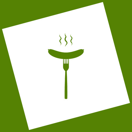 rotated: Sausage on fork sign. Vector. White icon obtained as a result of subtraction rotated square and path. Avocado background.