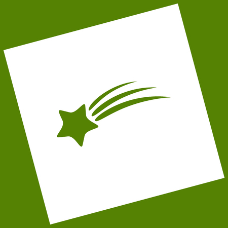 Meteor shower sign. Vector. White icon obtained as a result of subtraction rotated square and path. Avocado background.