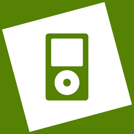 mp: Portable music device. Vector. White icon obtained as a result of subtraction rotated square and path. Avocado background.