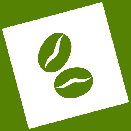Coffee beans sign. Vector. White icon obtained as a result of subtraction rotated square and path. Avocado background. Ilustração