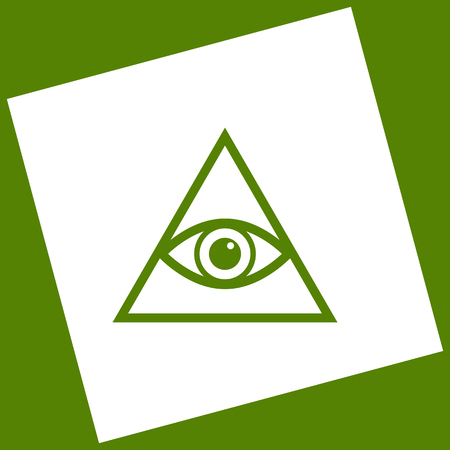 All seeing eye pyramid symbol. Freemason and spiritual. Vector. White icon obtained as a result of subtraction rotated square and path. Avocado background.